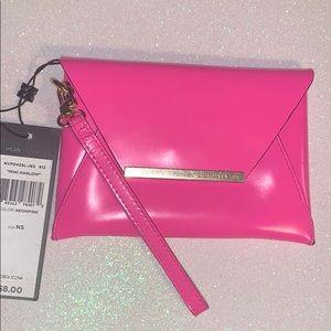 BNWT BCBG Pink Mini Harlow Clutch W/ Strap. Wrist.